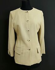 Women's JAEGER Beige Wool 2 Piece Suit Jacket Trouser Suit  Size 12