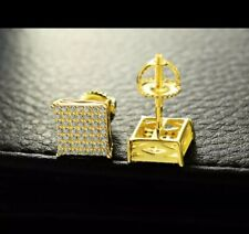 Men 14k Yellow Gold Sterling Silver Lab Diamond Square Screw Back Stud Earrings