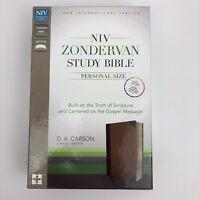 NIV Zondervan Study Bible Personal Size $69.99 Retail Chocolate Leather Duotone