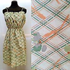 Vintage Green & Orange PRINT DRESS - Sundress -Tie Straps - Size M - New w Tags!