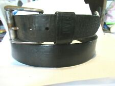 VERY DISTRESSED Leather Black Belt 38/39  LEVI'S Strauss Unisex XL Embossed