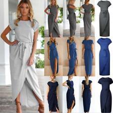 UK Womens Short Sleeve Boho Maxi Dress Ladies Summer Holiday Beach Wrap Sundress