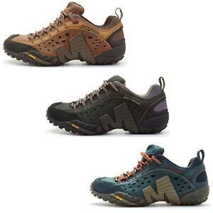 Merrell Intercept Hiking Shoes in Moth Brown & Blue Wing & Black