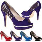 Cheska Womens High Heels Stilettos Platforms Ladies Studded Peep Toe Shoes Size