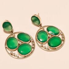 Natural Chrysoprase Gemstone 925 Sterling Silver Women Fine Earrings Dangle Drop