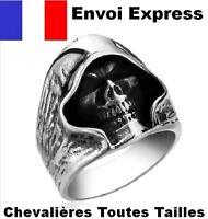 BAGUE HOMME CHEVALIERE TETE DE MORT CRANE REAPER FAUCHEUSE SONS ANARCHY SWAG E45