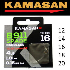 Kamasan B911 Barbless Hooks to Nylon Coarse Match Fishing Ready Tied