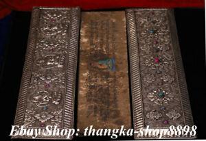 Old Silver 8 Symbol  Painting  Gems White Tara Buddha Scriptures Book faqi Set
