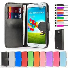 PU Leather Wallet Case Cover for Samsung Galaxy S4 I9500 Screen Protector Purple