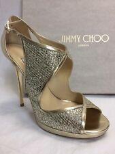 """NIB Sz 6 $885 -Jimmy Choo -""""Leondra"""" Champagne Sandals Glitter Leather Heels"""