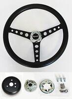 "1967 RR Barracuda Fury GTX Grant Black on Black Steering Wheel 14 1/2"""