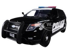 2015 FORD INTERCEPTOR POLICE CAR BLACK/WHITE 1/24 CAR BY MOTORMAX 76954