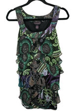 Signature by Robbie Bee Green Dress Tiered Ruffles sz 8P