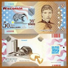 USA States, Wisconsin, $50, Polymer, ND (2017), UNC > Laura Wilder