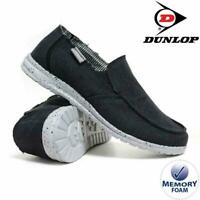 MENS DUNLOP MEMORY FOAM BLACK CANVAS CASUAL LOAFERS DRIVING DECK SHOES 8-12