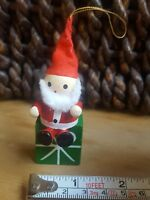 Vintage Santa on Top of wooden gift box Christmas Xmas tree holiday season decor