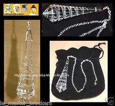 Pendule Swarovski monté sur une chaine en métal argenté et une perle crital