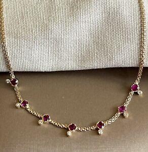 "18ct Yellow Gold Diamond Ruby Necklace Choker By The Yard 16"""