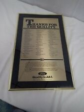 1987 FORD Q1 PREFERRED QUALITY AWARD Plaque Wall Street Journal Ad in Bronze