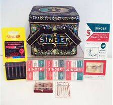 ~VINTAGE~SINGER SEWING CANISTER~PACKAGES OF SEAM GUIDE ATTACHMENT AND  NEEDLES