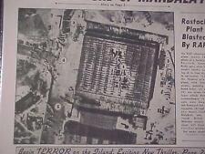 VINTAGE NEWSPAPER HEADLINE ~WORLD WAR 2 RAF BOMB NAZI GERMANY PLANE PLANT WWII~