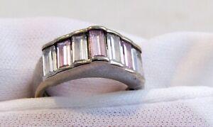 Anillo de violeta y blanco - plata esterlina. Exótico