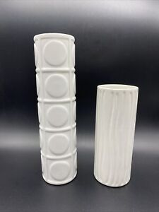 2 Decorative Vases White Contemporary Circle Stripe Tealight Holder