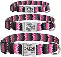 Nylon Personalised Dog Collar Small Large Pet Collars Custom Engraved Name ID