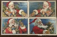 Lot of 4 Santa Claus w.Teddy Bear~Toys~Skates~Antique Christmas Postcards-a95