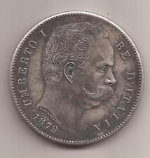 1870 - UMBERTO I - LIRE 5 - IN PERFETTA RIPRODUZIONE D'EPOCA IN ARGENTO