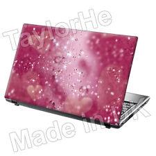 Laptop piel cubierta Sticker Decal Rosa Corazones Sparkle 83