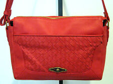 ELLIOTT LUCCA Red Leather Shoulder Bag  With Woven Design Size M