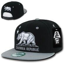 Black & Gray California Republic Cali Bear Flat Bill Snapback Snap Back Cap Hat
