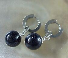 1 Paar Edelstahl Creolen Ohrringe 13,5 x 4 mm mit 12 mm Blaufluss Stein Kugel