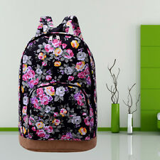 Women's Girls Floral Canvas Travel Satchel Shoulder Bag Backpack School Rucksack