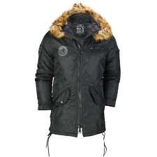 Mens Warm Winter Jacket Smart Fashion Parka Detachable Fur Lined Trim Hood Coat