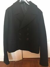 Dior Homme 06AW Black Cropped Pea Coat Jacket Size EU50