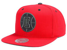 Los Angeles Clippers Mitchell and Ness NBA Grey Tonal Logo Snapback Red Cap Hat