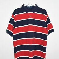 Mint Vintage Polo Ralph Lauren Striped Short Sleeve Shirt Blue Red XL - Pony
