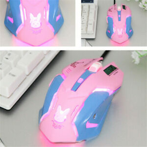 Wired Gaming Mouse Pink Blue Night Lights USB Laptop Mouse Anime OW Overwatch