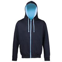 AWDis Just Hoods Varsity Contrast Hood Zoodie Zip Up Hoodie Hoody Hooded Jacket