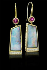 Vintage Lady Simple 18k Gold Earring Opal & Ruby Jewelry Ear Hook Dangle Drop