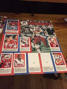 1986 New England PatriotsTopps Football Sticker Loose Sheet With Player Stickers