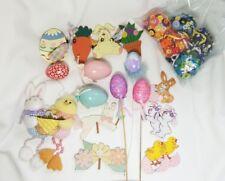 Easter Decoration Lot - button eggs wood shapes door hanger bunny chicks vtg egg