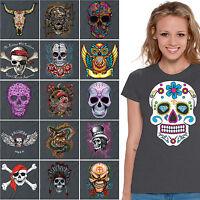 WOMENS Sugar Skull T shirt Day Of The Dead Halloween dia de los muertos CHARCOAL