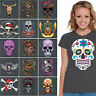 WOMENS Sugar Skull T shirt Day Of The Dead Halloween dia de los muertos CHARCOAL