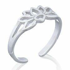 Ring Solid 925 Women Midi R Handmade Sterling Silver Lotus Flower Adjustable Toe