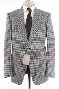Tom Ford NWT Sport Coat Size 44R Black & White Houndstooth Flannel Wool Shelton
