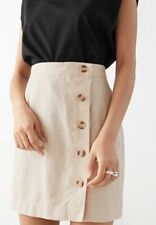 other stories front button mini skirt linen, size 0, color beige