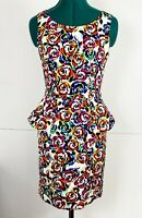 Review Ladies Bright Colourful Rose Floral Peplum Dress Size 8